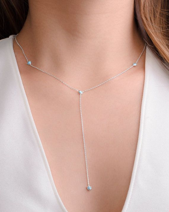 Natural Turquoise Y Necklace Sterling Silver Gold Plated