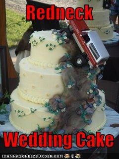 Redneck Wedding Cake - I'm not pinning this because of the truck... I'm pinning it because I love the white cake underneath.