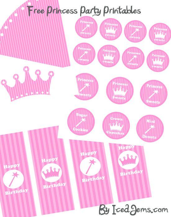 free printable princess party decorations | Princess Party Printables