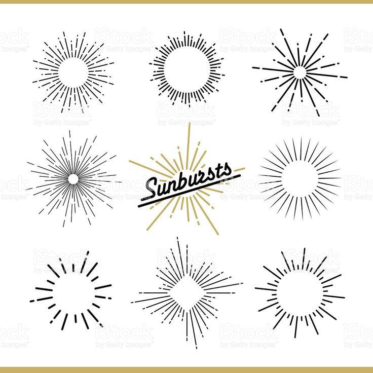 Set of sunburst design elements for badges, logos and labels royalty-free stock vector art