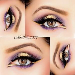 Gold and Purple Eye Makeup - This is SOOO BEAUTIFUL!!! Look at the gold on the lower lash line ❤ by joy