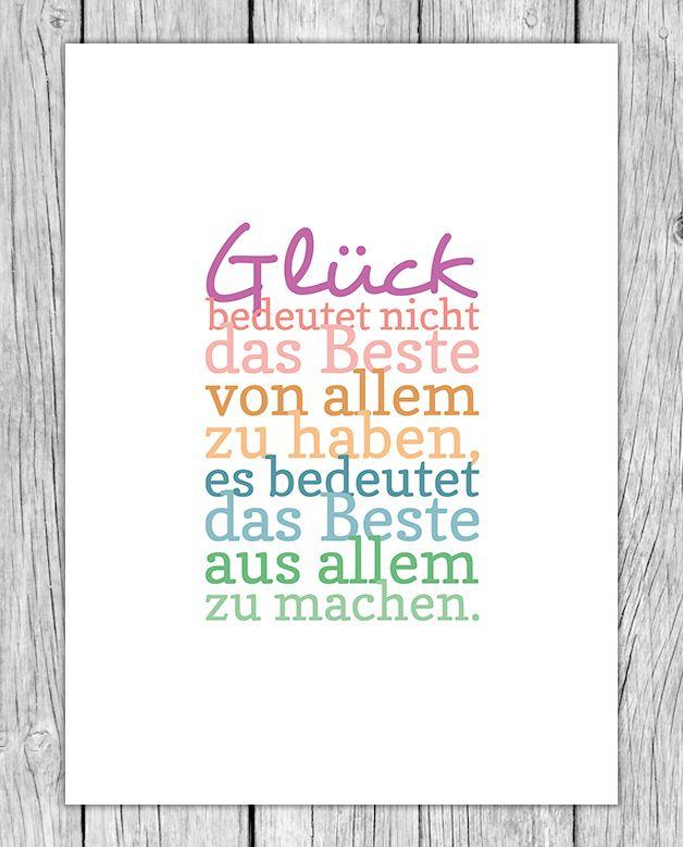 """Glück"" Kunstdruck, Motivations-Poster"
