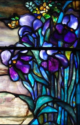 Iris Flowers Stained Glass by Tiffany