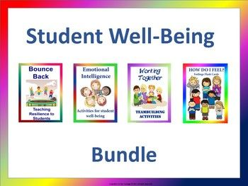 Our student well-being bundle includes 4 resources to help your students improve on their social and emotional functioning. Resources included are: 1. How Do I Feel? Feelings Flash Cards 2. Working Together: Team-building Activities 3. Emotional Intelligence: Activities for