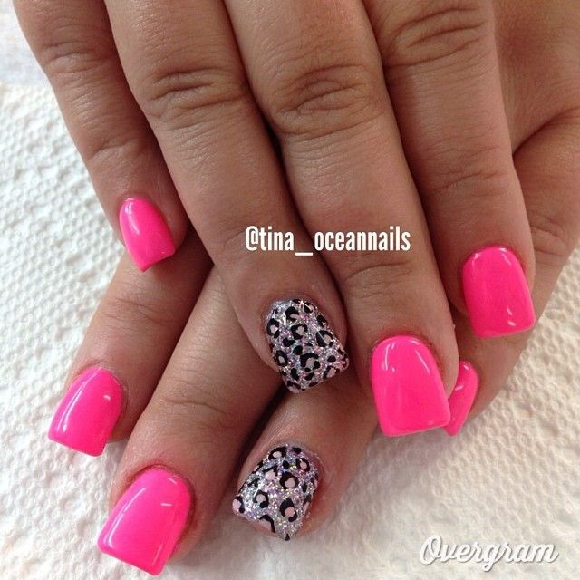 Pink & leopard nails♥ My nails are exactly like this now :)