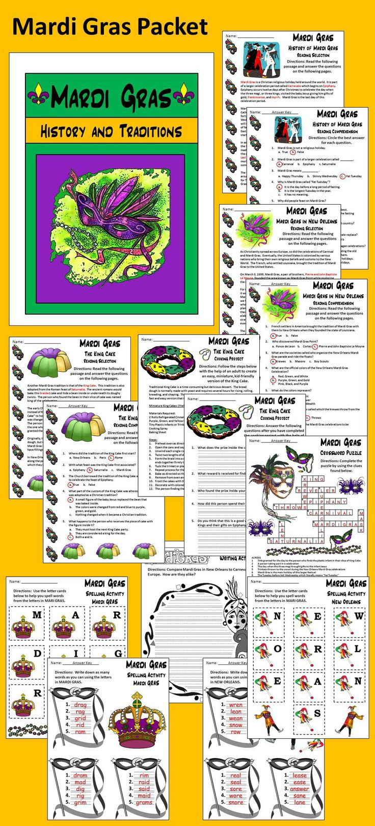 23 best mardi gras images on pinterest mardi gras activities mardi gras history and traditions activity packet this colorful mardi gras packet traces the history m4hsunfo