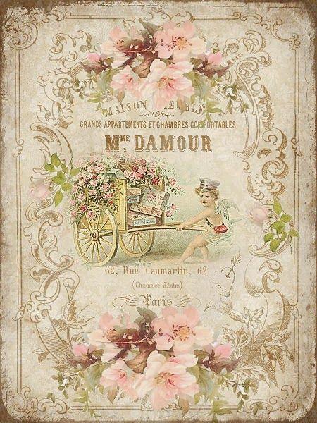Roses, boy, cart, label