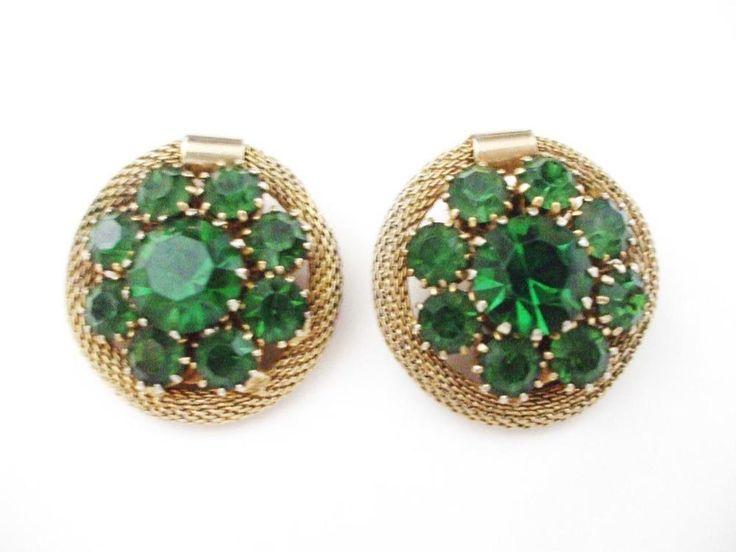 LOVELY VINTAGE WEISS EMERALD GREEN RHINESTONE EARRINGS PRONG SET STONES CLIP  | eBay