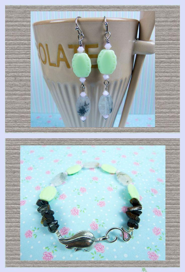Tijgeroog en Toermalijn Kwarts Edelsteen, Swarovski en Vintage Tsjechisch glas, Armband en Oorbellen Sieraden Set via Birdie Accessoires