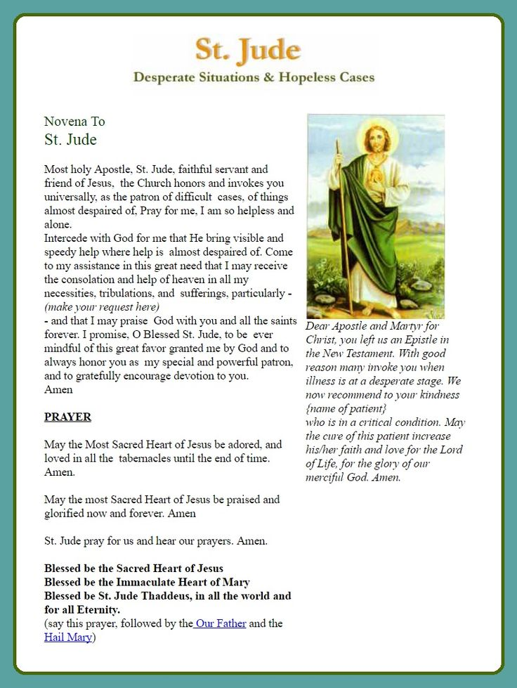novena to st jude Novena to st jude 553 likes 3 talking about this prayer to st jude for help with hopeless and desperate cause lord jesus hear our prayers, amen.