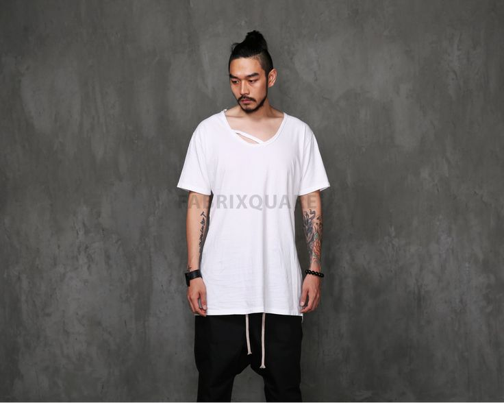 Mens VANDALIQUE Dual Deep U Neck Back Extended Short Sleeve Tee at Fabrixquare $28.00