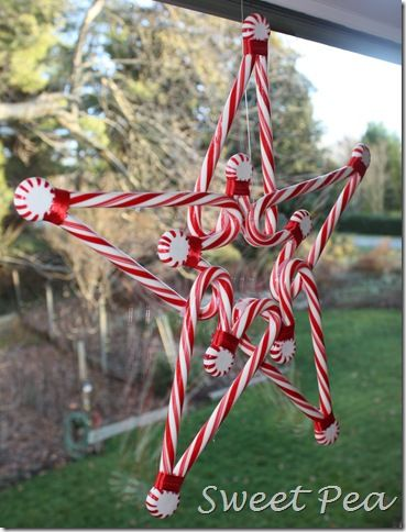 Star wreath with candy cane hearts and peppermints.