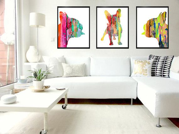 Colorful 2 French Bulldog Watercolor Print Home by WatercolorBook