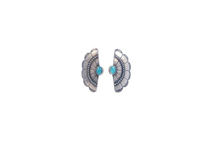 Concho wing earrings in antique silver and turquoise