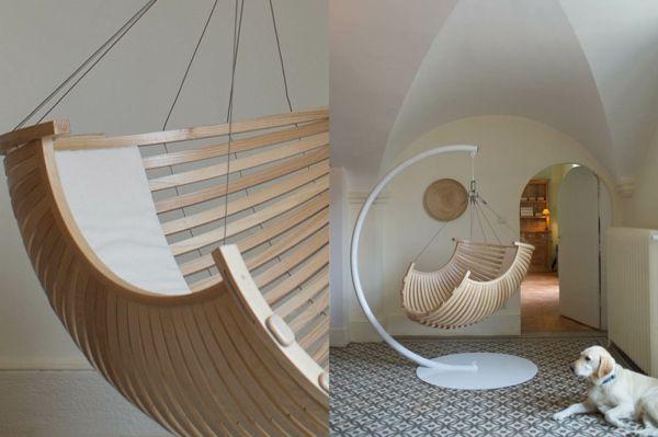 fauteuil suspendu, joli design en bois