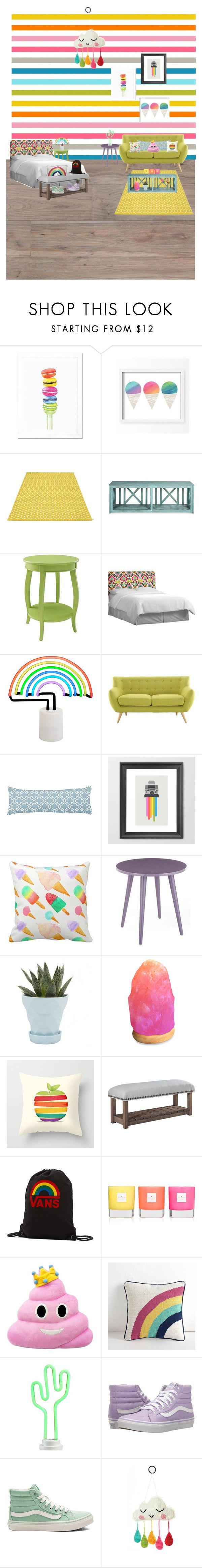 """THE RAINBOW-BedRoom🌈"" by noofnawaf ❤ liked on Polyvore featuring interior, interiors, interior design, home, home decor, interior decorating, iCanvas, Lucy Darling, Pappelina and Powell"