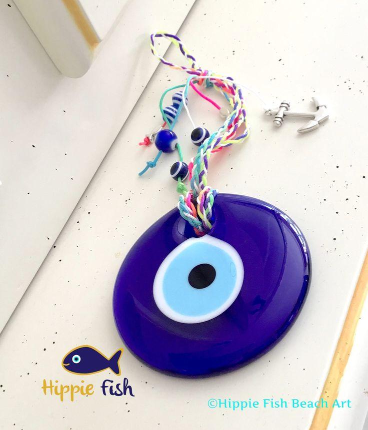 Blue Evil Eye, evil eye charm, good luck charm, evil eyes, nazar, talisman, Turkish eye, evil eye, lucky eye, wall hanging, good luck charm by hippiefishbeachart on Etsy