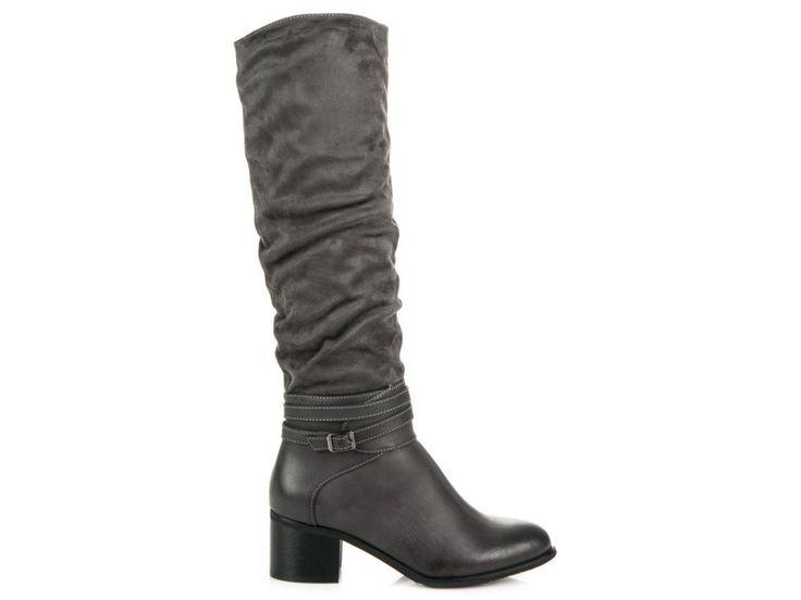 Sivé čižmy po kolená CASUAL