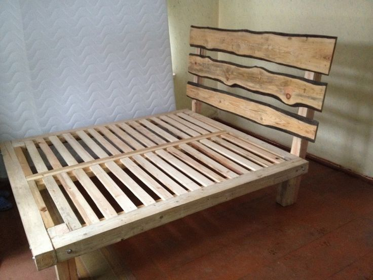 Furniture. Natural Brown Wooden Bed Frame With Four Short Legs Also Three Bars On The Head Board Placed On The Brown Floor As Well As  Plus. Fabulous Homemade Bed Frames Bring Comfortable Feel In Your Bedroom