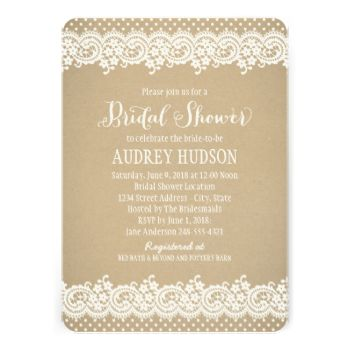 Wedding bridal shower invitations feature a charming illustrated border design of vintage white floral and dotted lace and background with a rustic kraft brown paper textured appearance. #rustic #lace #kraft #wedding #charming #country #flowers #dots #bridal #shower #vintage