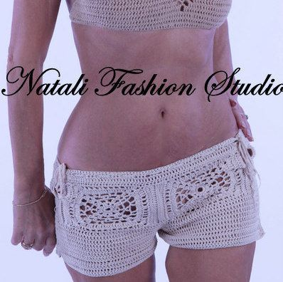 Crochet bikini swimwear shorts crochet  bikini bottom covers