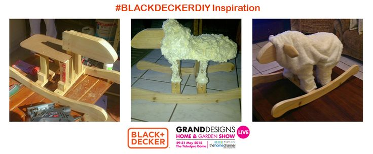 """A huge congrats to Adele Klusener, the second winner in our #BLACKDECKERDIY competition.  """"We used a jigsaw to cut out the shape for the rocking lamb, using timber and foam to help build the shape. We cut out the face and mounted it to the body and created a seating area out of masonite. Lastly, we sewed some ears out of material and felt. and we covered it with a lovely material."""" - Adele. There will be TWO MORE winners before we choose our finalist."""