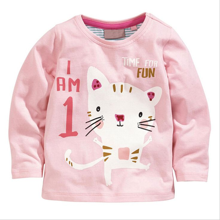 Retail spring fall baby girls tops tees,cute cat children clothes,pink cotton long sleeve kids T shirt,1-6 yrs girls wear //Price: $18.60 //     #baby