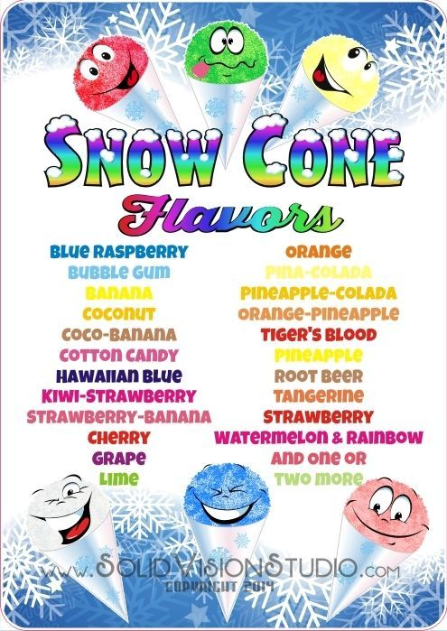 "24"" Custom Snow Cone Flavor Syrup Menu Concession Trailer Food Truck Sign Decal #SolidVisionStudio"