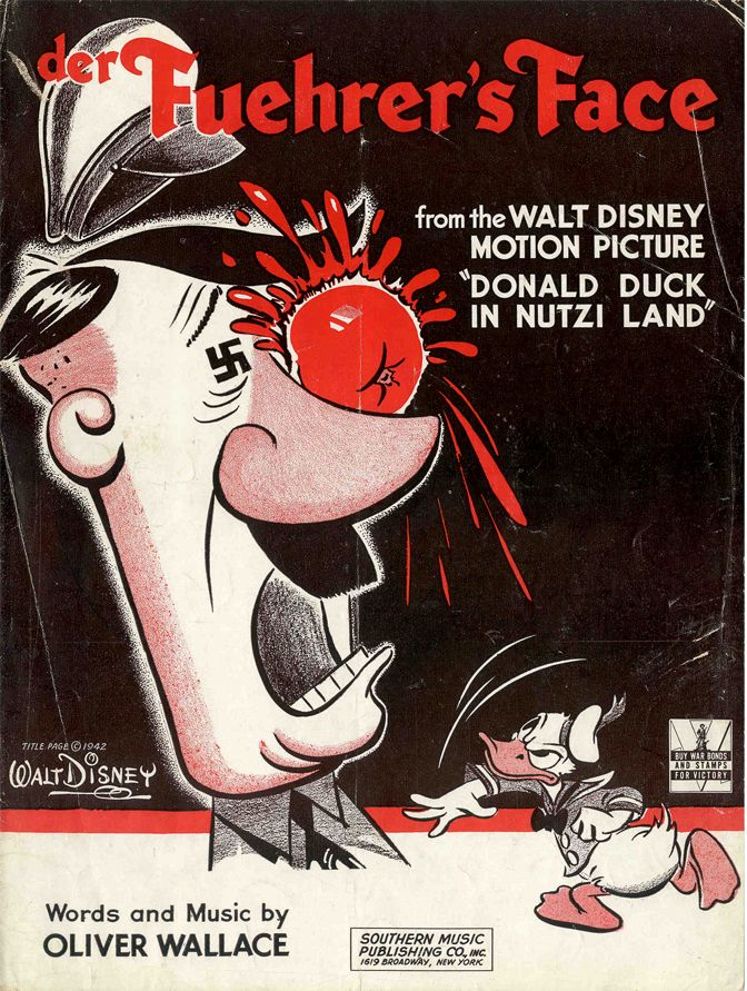 Sheet music cover art for Der Fuerher's Face,or Donald Duck In Nutzi Land, 1943.