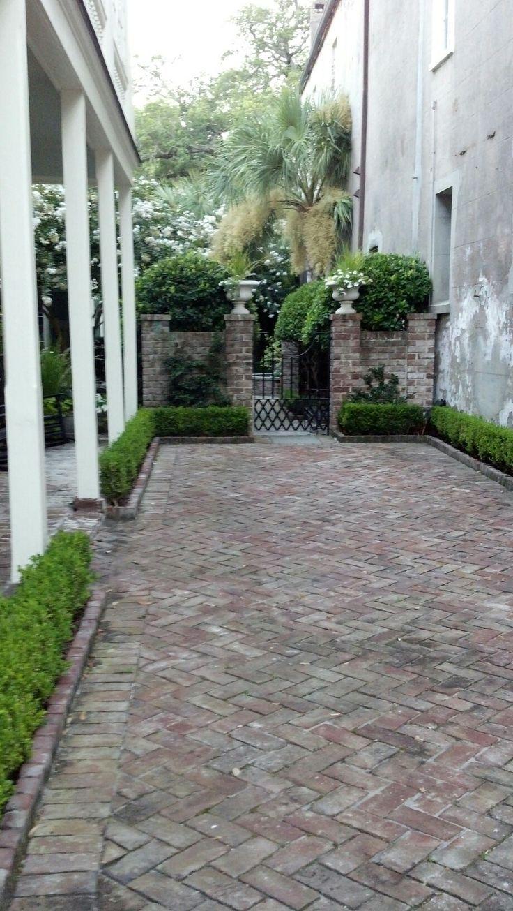 patio herringbone brick