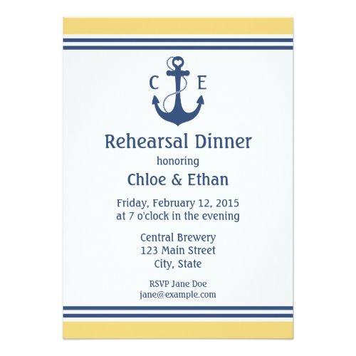 Yellow Nautical Rehearsal Dinner Invitations