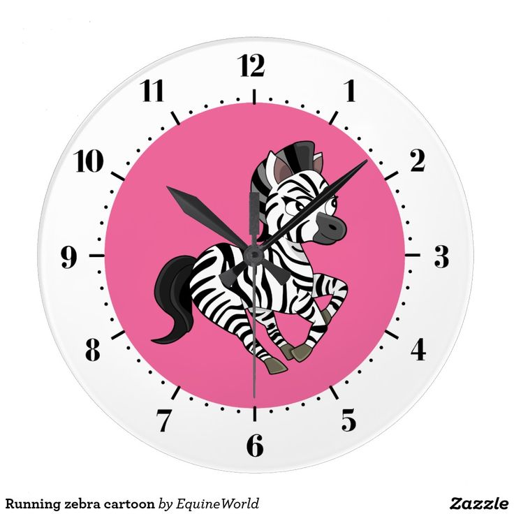 Running zebra cartoon wall clock
