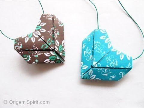 Origami-Herzen - auch als Halskette, Brosche o. Ä. tragbar. Sehr gut erklärt von Leyla Torres.