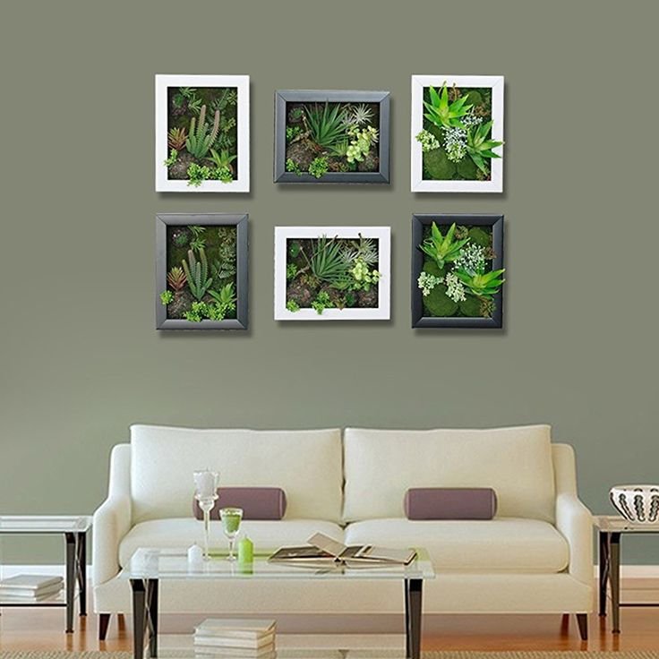 3D Artificial Succulents Wall Hanger Imitation Flowers Planter Fake Cactus Bonsai Vertical Garden Hangings in Photo Frame for Home Decorations, Rectangle, White Wood Box, 7.87 in * 9.84 in: Amazon.co.uk: Kitchen & Home