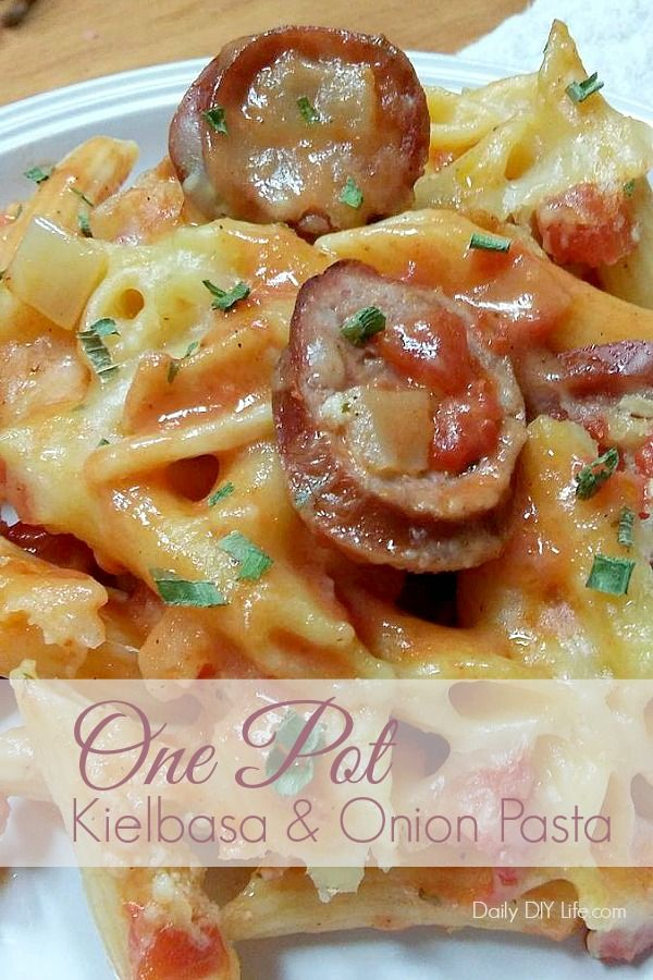 One Pot Meal! Kielbasa and Onion Pasta. Meaty kielbasa paired with a delicious cream sauce and penne pasta comes together in just 30 minutes. A hearty meal perfect for any weeknight dinner.