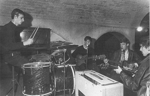 This is the first photo of The Beatles (John Lennon, Paul McCartney, George Harrison) with Ringo Starr as their drummer…  Photo Taken – Wednesday, August 22 1962 – The Cavern Club