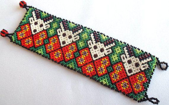 Mexican Huichol Beaded Deer and Peyote Bracelet by Aramara on Etsy