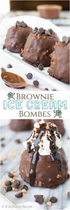 Brownie Ice Cream Bombs | A baJillian Recipes