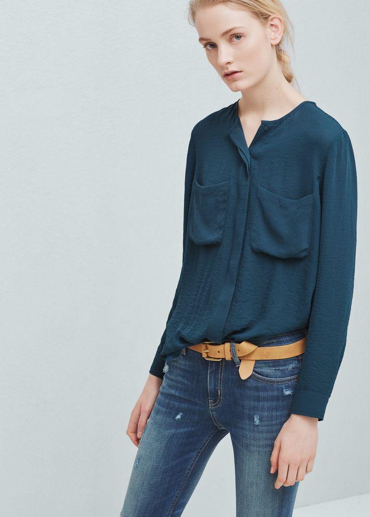 Bluse mit aufgesetzten taschen - Blusen für Damen | MANGO Schweiz