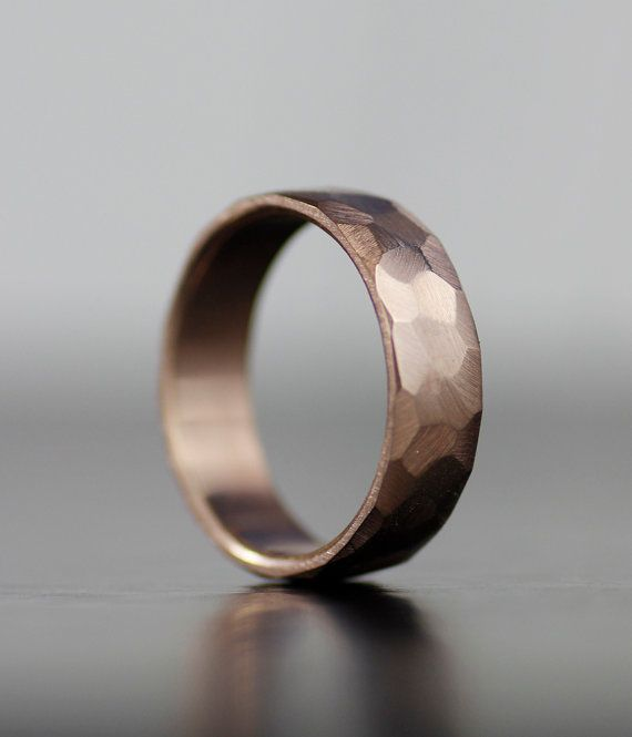 Faceted wedding band - men's wedding band, women's wedding band, rose gold…
