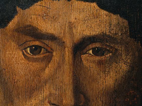 Políptico São Vicente de Fora [Painel dos Pescadores - pormenor dos olhos da figura masculina do canto superior esquerdo], Nuno Gonçalves (atribuido), [c. 1450-1490], Museu Nacional de Arte Antiga.