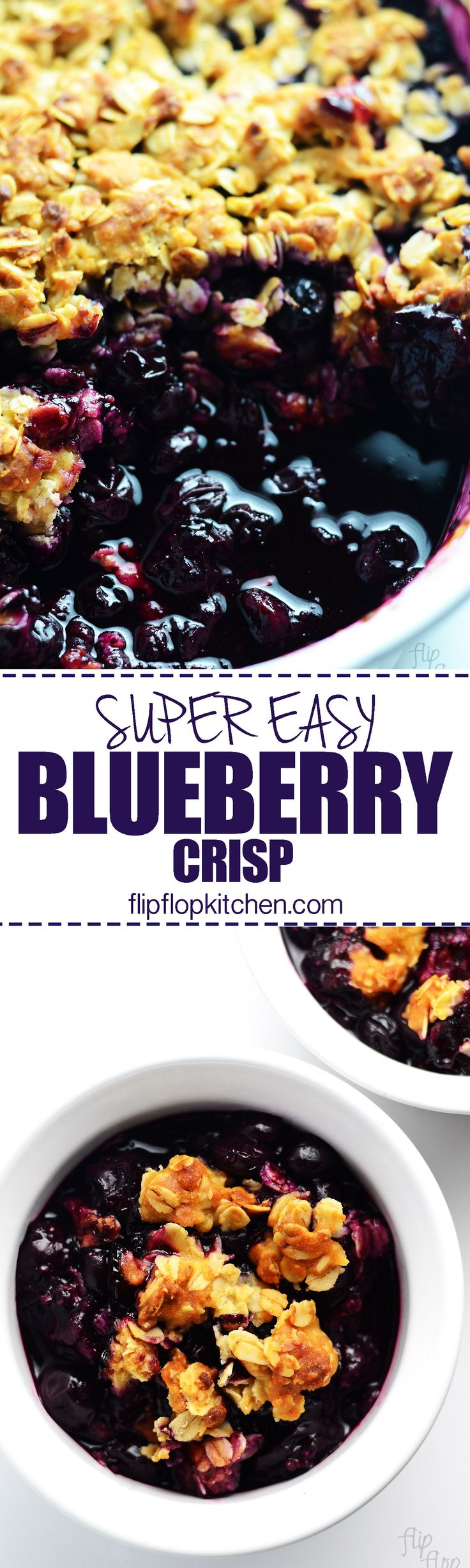 Easy Blueberry Crisp | This blueberry crisp is so easy to make. It is naturally sweetened with honey and sweet blueberries and topped with a crisp oat topping. The epitome of a healthy treat!. | flipflopkitchen.com