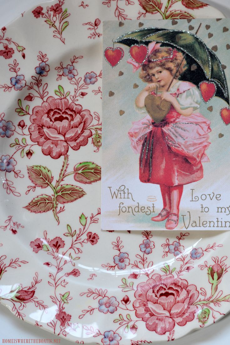Valentine Greetings with Flowers and Transferware Table | homeiswheretheboatis.net #pottingshed