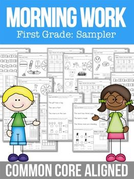FREE-Morning Work Free English Language Arts, Math, Tools for Common Core Kindergarten, 1st, 2nd Worksheets, Activities, Printables..A FREE First Grade Morning Work SamplerHere you have it