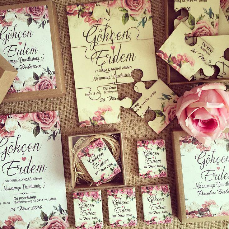 Yapboz Davetiye / Puzzle Wedding invitation www.masalsiatolye.com #masalsiatolye #davetiye #weddinginvitation #vintage #yapboz #puzzle
