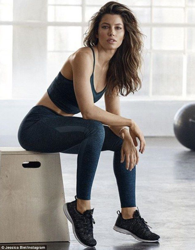 All about a new year: Jessica Biel showed off her fit body as she plugged sportswear on Mo...