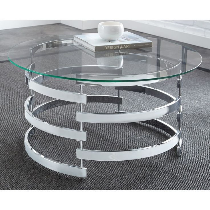 FREE SHIPPING! NEW..Modern Coffee Table Round Glass Contemporary End Metal Living Room Furniture New  #ContemporaryModern