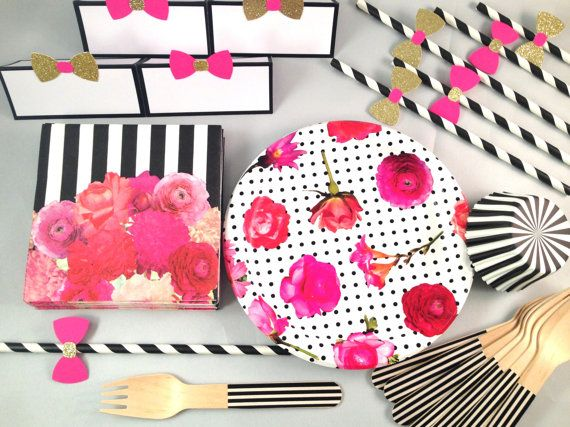 Dessert party in a box mini kate spade inspired hot for Dots and stripes party theme