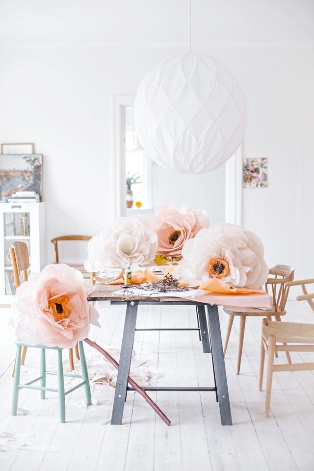 Mokkasin riesen Papier Blumen, eine pastellfarbige Gute Laune Dekoration