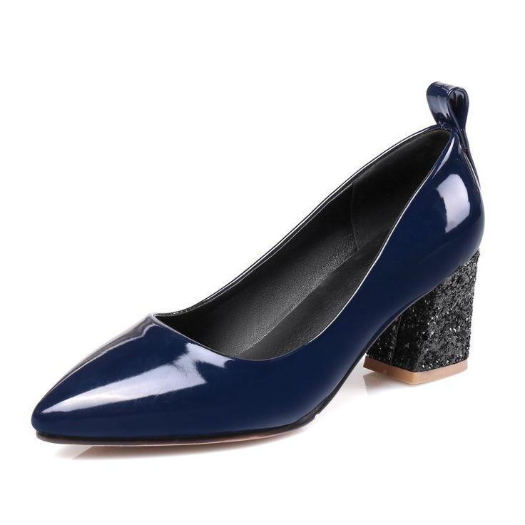 Patant leather Women High Heels Shoes Pumps Black Brand Thick High Heels Single Ladies Heels Wedding Pumps Shoes Plus Size 34-36 #weddingshoes